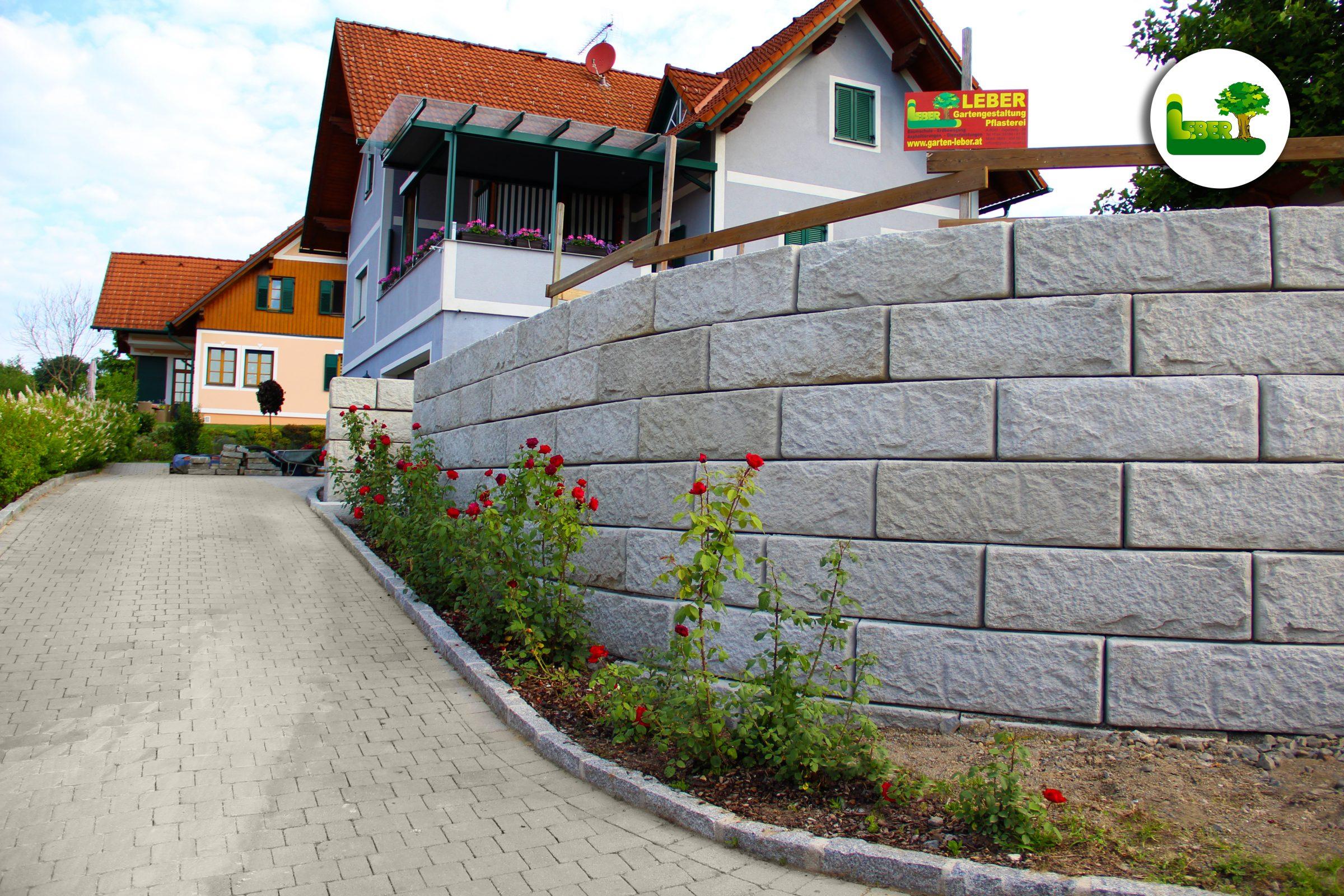 Steinmauer Mit U201eSW ReCon Stützwandsystemu201c.  Garten Leber